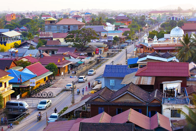 Muslim district of Siem Reap city, Cambodia. SIEM REAP, CAMBODIA - JAN 03, 2015: Muslim district of Siem Reap city, Cambodia. In this part of the town live stock photos