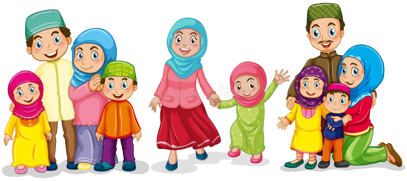 Muslim families looking happy royalty free illustration