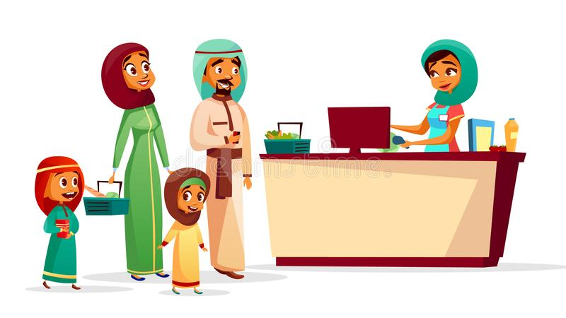Muslim family at supermarket checkout counter vector cartoon illustration. Muslim family at checkout counter vector illustration of Saudi Arabian man and woman stock illustration
