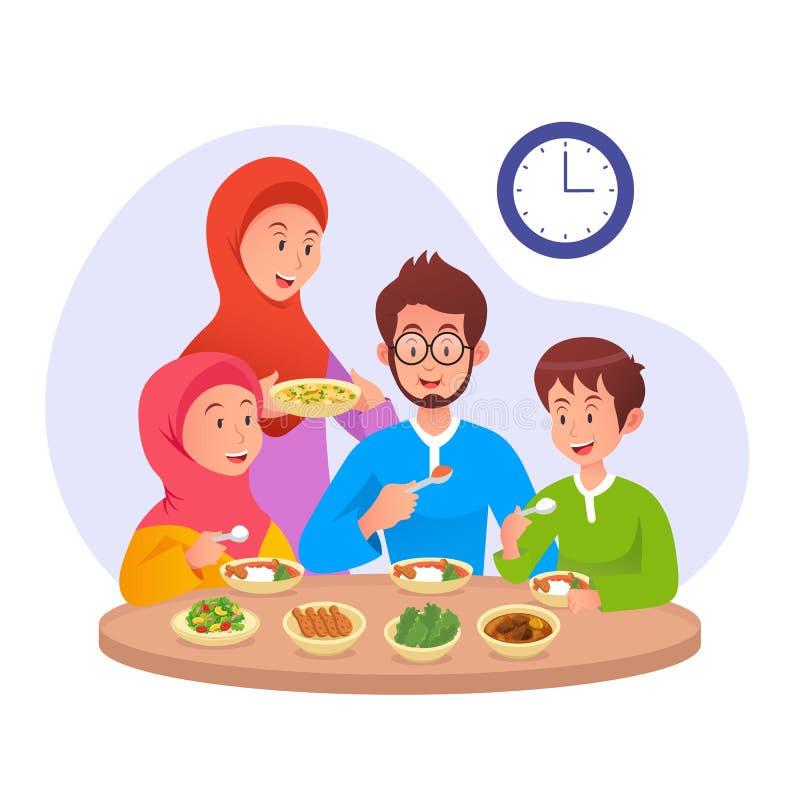 Muslim Family eating sahur or eat early morning before fasting day. Family eating sahur or eat early morning before fasting day ramadan vector illustration royalty free illustration