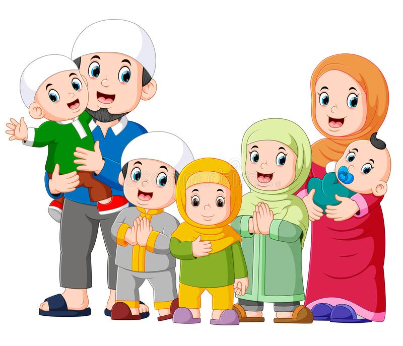 A muslim family with five children are celebrating ide mubarak. Illustration of A muslim family with five children are celebrating ide mubarak royalty free illustration