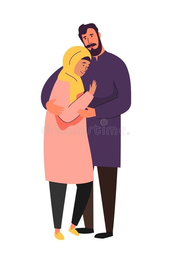 Muslim family, hijab abaya traditional clothing, vector illustration. Muslim family, happy couple. Arab man and woman in islamic hijab clothing vector royalty free illustration