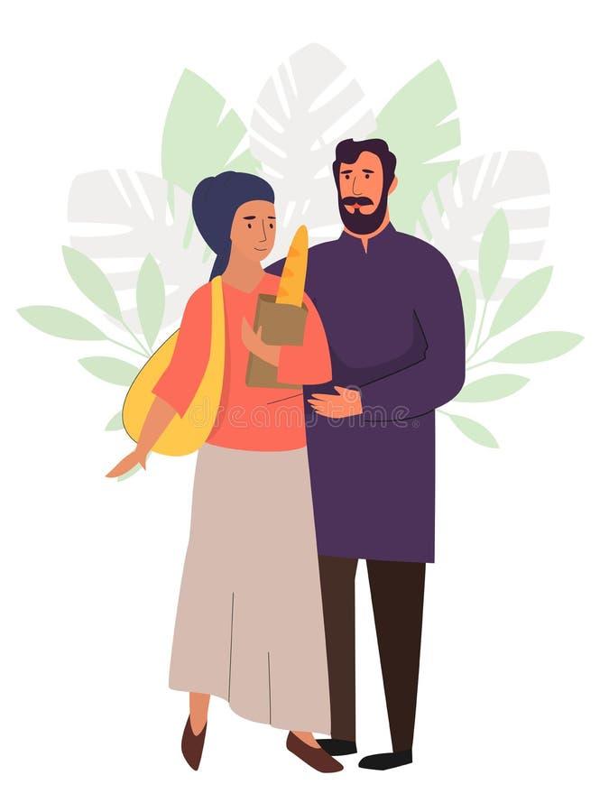 Muslim family, hijab abaya traditional clothing, vector illustration. Muslim family, happy couple. Arab man and woman in islamic hijab clothing vector stock illustration