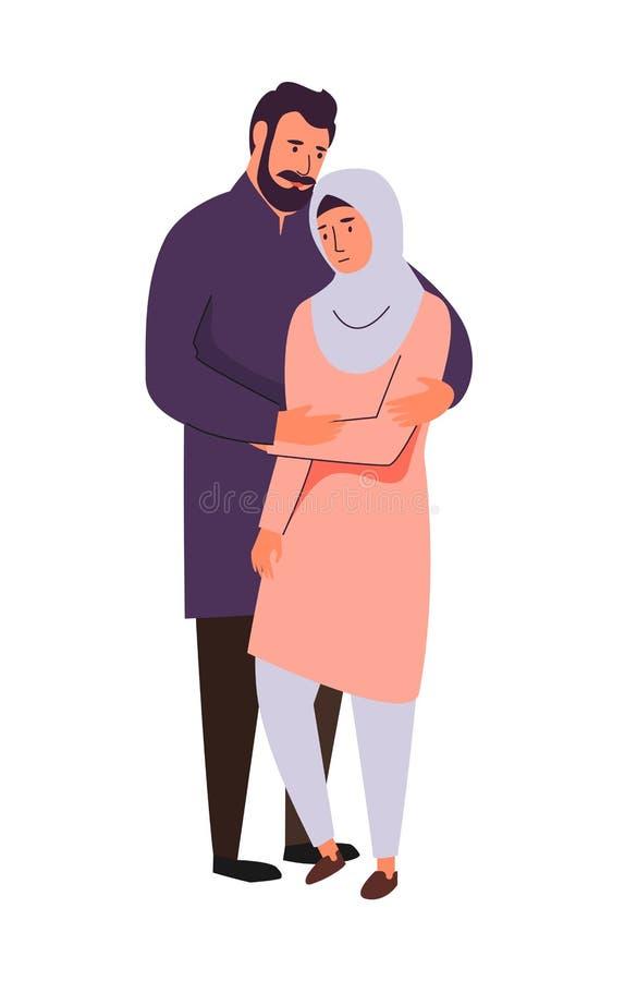 Muslim family, hijab abaya traditional clothing, vector illustration. Muslim family, supporting arab couple. Saudi man and sad woman in islamic hijab clothing royalty free illustration