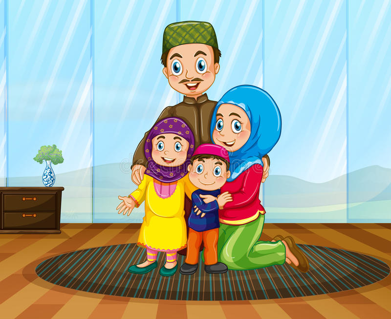Muslim family in the house royalty free illustration