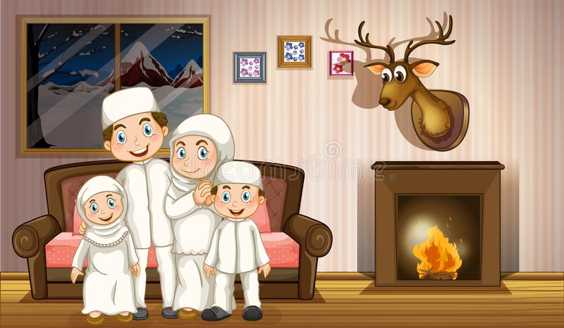 Muslim family in living room with fireplace. Illustration vector illustration