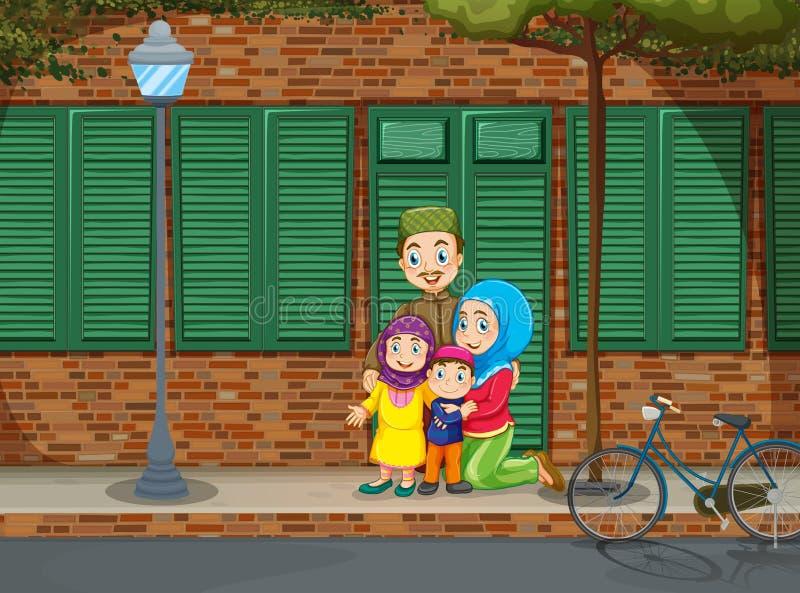 Muslim family on the sidewalk. Illustration vector illustration