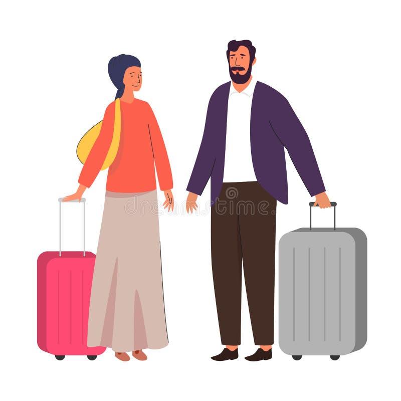 Muslim family traveling, hijab abaya traditional clothing, vector illustration. Muslim family, happy couple traveling. Arab man and woman in islamic hijab stock illustration