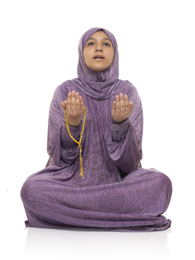 Free Muslim Female Looking Up Praying For Allah, Girl With Prayer Costume, Ramadan Kareem Concept Stock Image - 214641691