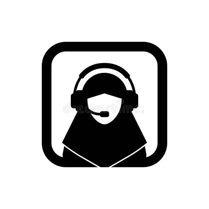 Muslim female support service / customer care / customer service / administrator silhouette icon. Square icon. stock illustration
