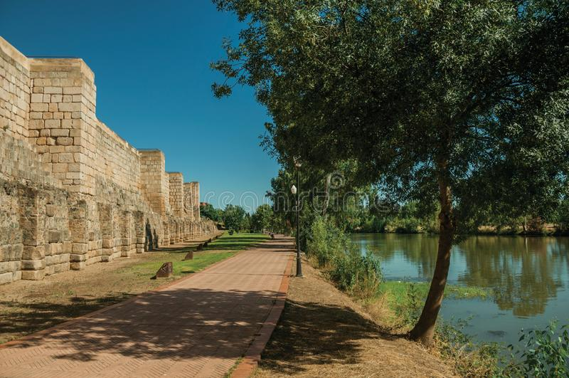 Muslim fortification and the Guadiana River at Merida stock images