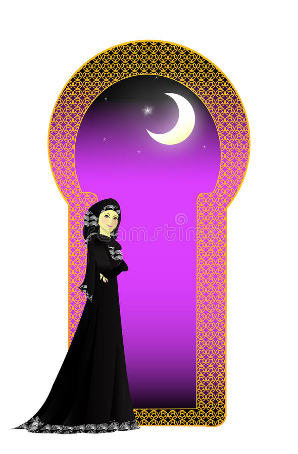 Muslim girl in Abayah royalty free illustration