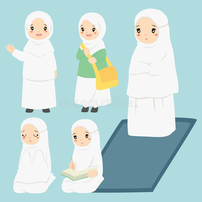 Muslim Girl Daily Activities Vector Collection vector illustration