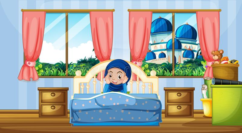 A muslim girl in the bedroom royalty free illustration