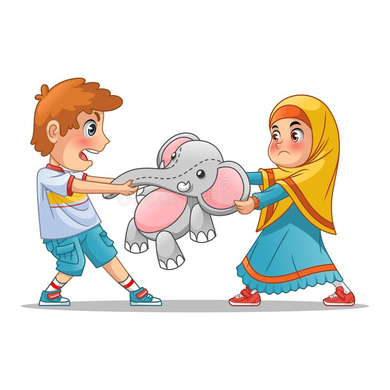 Muslim Girl and Boy Fighting Over a Doll. Cartoon character design vector illustration, isolated against white background vector illustration