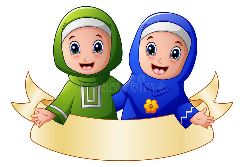 Muslim girl couple embrace for each other presenting with blank sign stock illustration