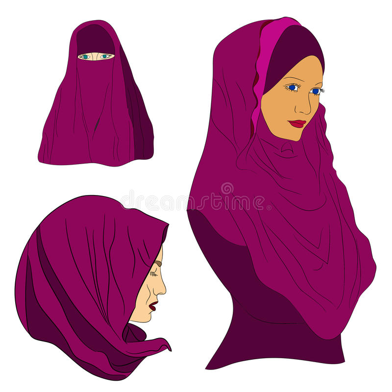 Muslim girl dressed in colored hijab. Traditional Islamic clothes, Muslim headscarf, girl in a scarf stock illustration