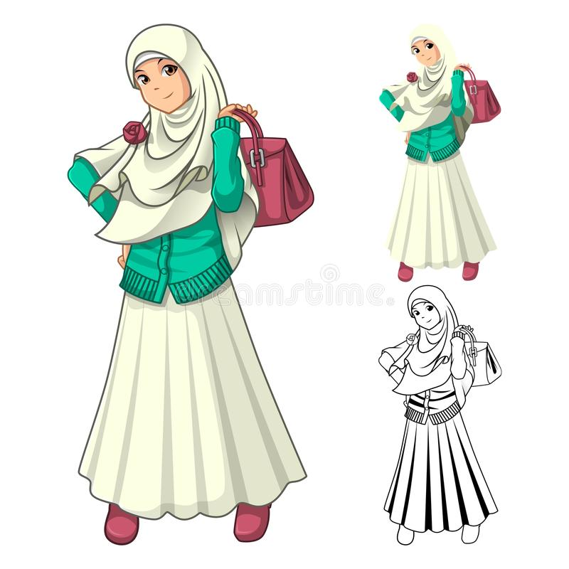 Muslim Girl Fashion Wearing Veil or Scarf with Holding a Bag and Dress Outfit stock image