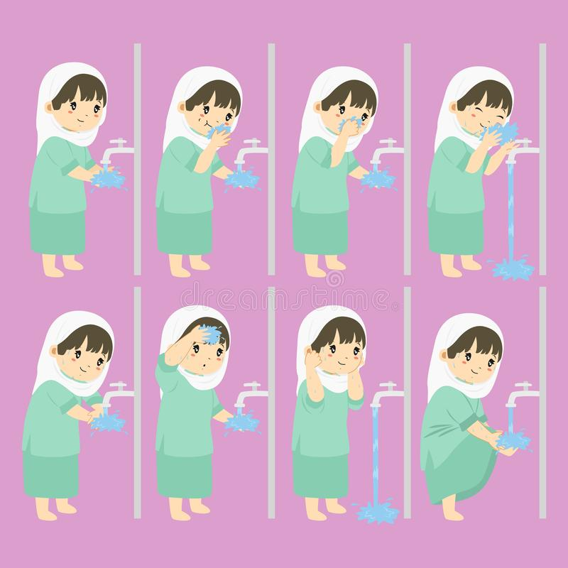 Muslim Girl Perform Ablution Steps Vector Collection royalty free illustration