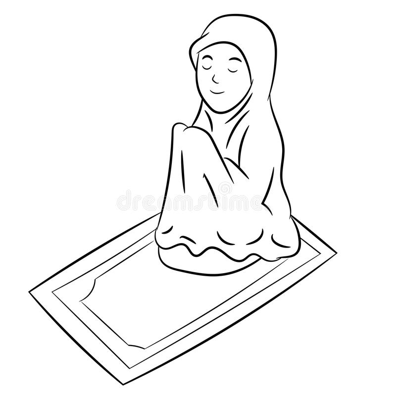Muslim Girl praying-Hand drawn Vector Illustration. Muslim Girl praying Isolated on white background. Black and White simple line Vector Illustration for vector illustration