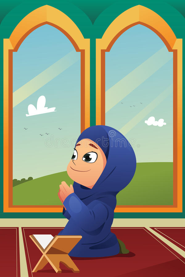Muslim Girl Praying in Mosque vector illustration