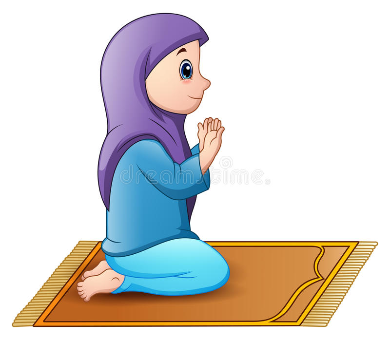 Muslim Girl Sitting On The Prayer Rug While Praying Stock