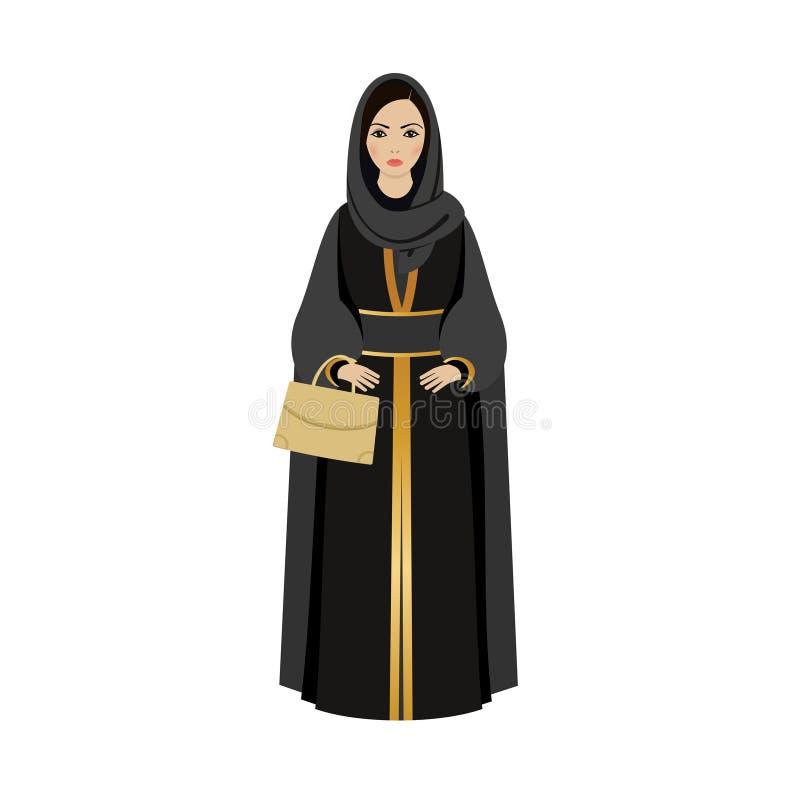 Muslim Girl with traditional hijab. Abaya Fashion muslim girl. Holding golden bag royalty free illustration