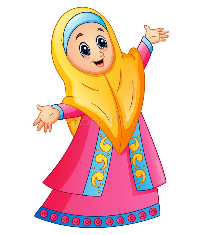 Muslim girl wearing yellow veil and pink dress presenting vector illustration