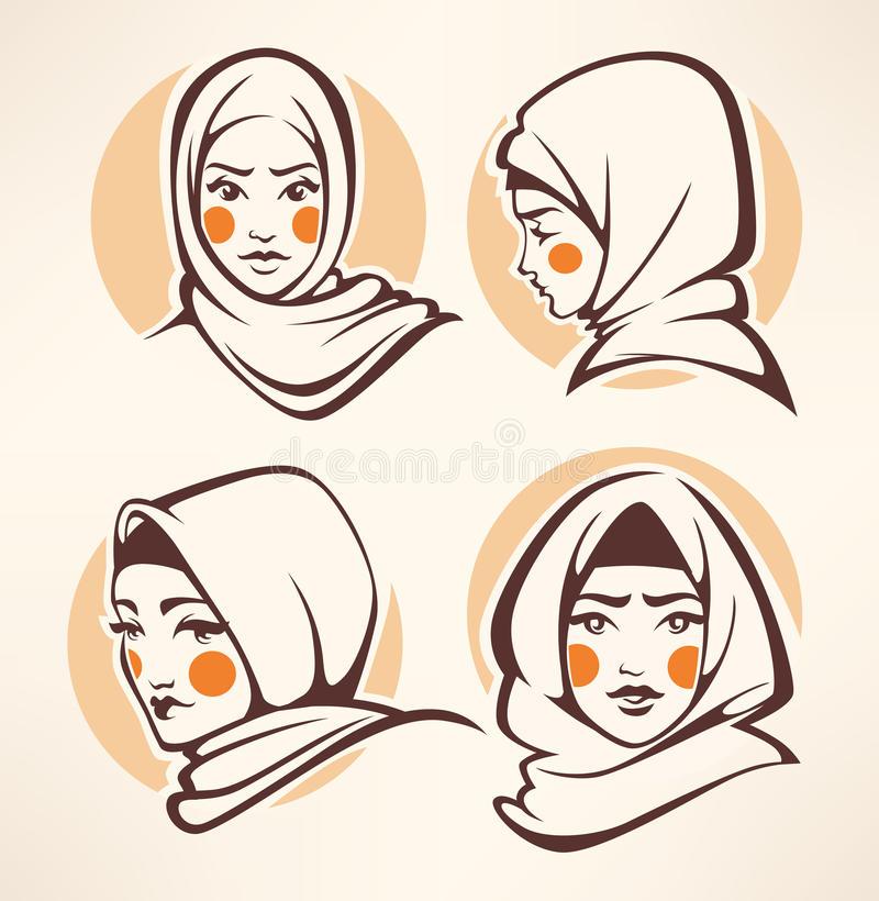 Muslim girls vector illustration