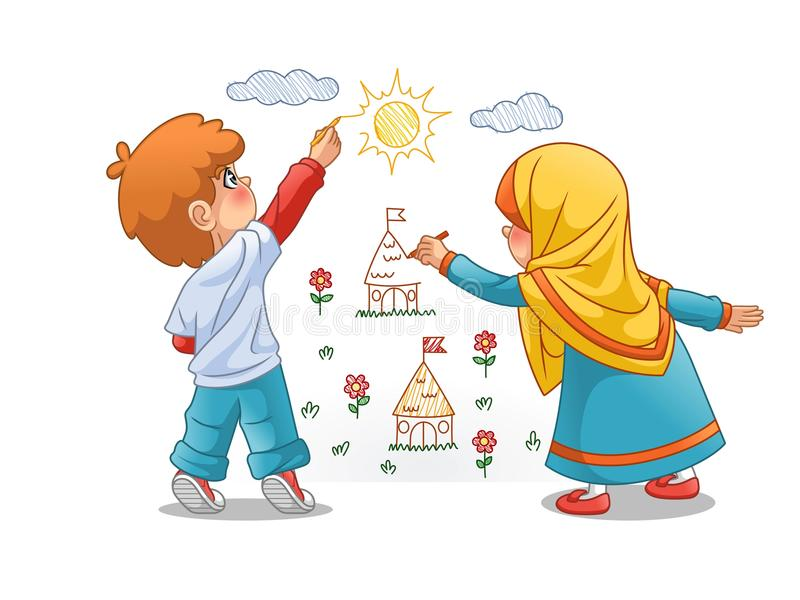 Muslim Girls and Boy Draw Landscapes On The Walls. Cartoon character design, vector illustration, isolated against white background stock illustration
