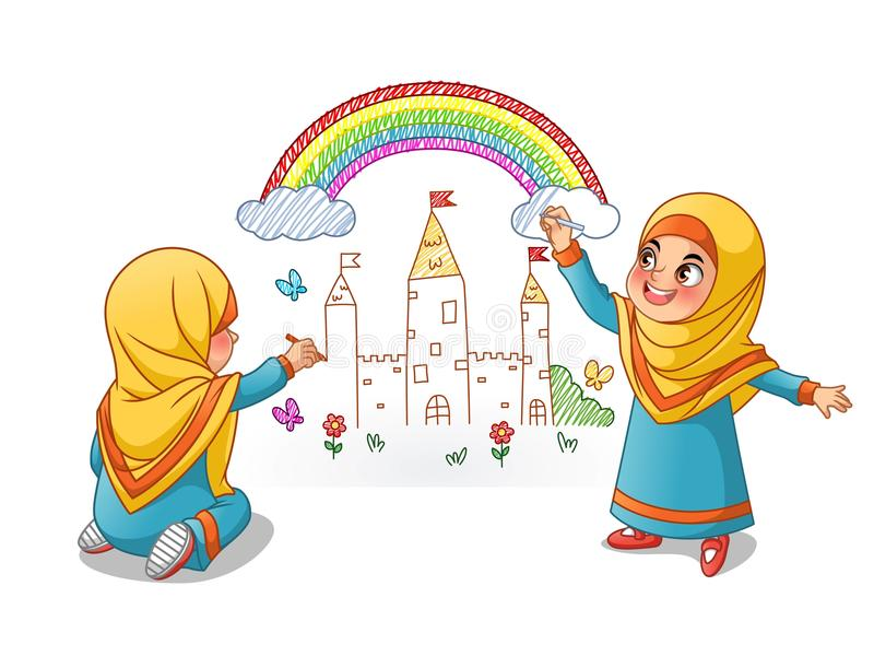 Muslim Girls Draw Palace with Rainbow On The Wall. Cartoon character design, vector illustration, isolated against white background royalty free illustration