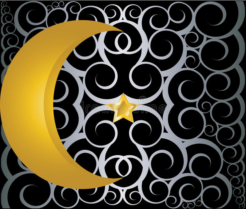 Download Muslim Gold Star And Crescent On Black Background Stock Vector - Image: 26482102