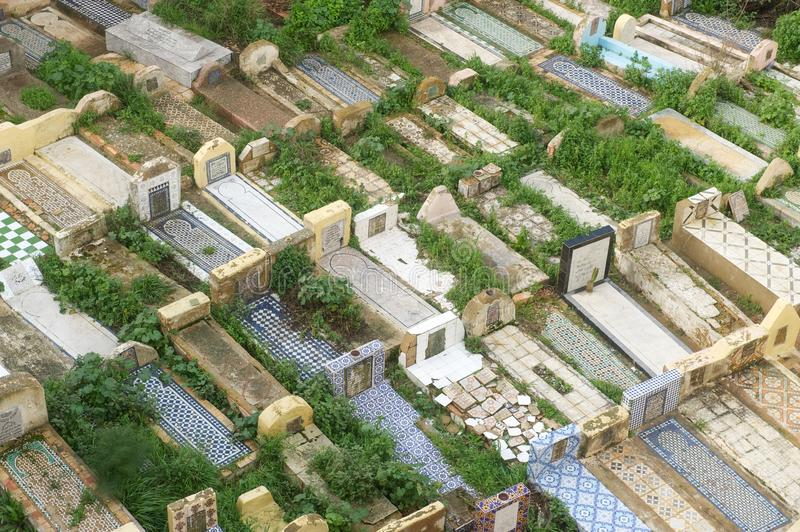 Muslim graves in a cemetery, Meknes, Morocco stock photography