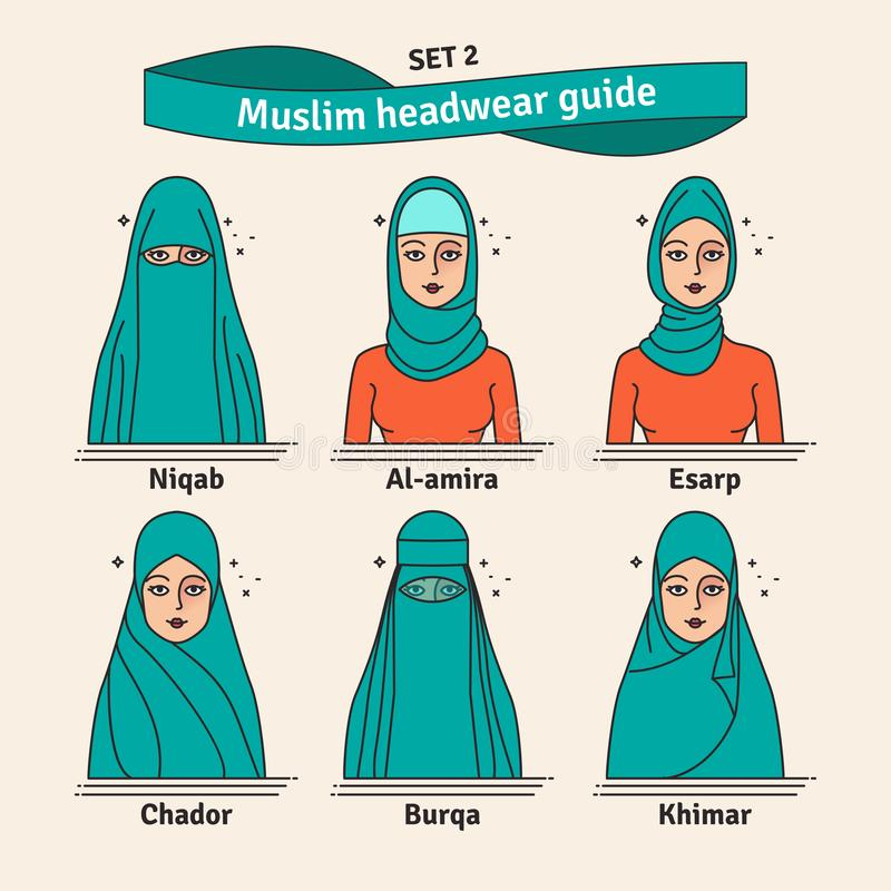 Free Muslim Headwear Guide. The Set Of Different Types Of Women Headscarves. Vector Icon Colorful Illustration. Set 2. Stock Images - 131471034