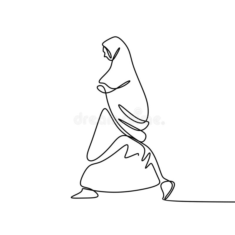 Muslim hijab girl walking one continuous line drawing wearing burka. Arab hand drawn person arabic white background religion clothing vector scarf islamic stock illustration