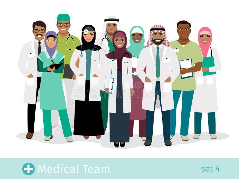 Muslim hospital team vector illustration