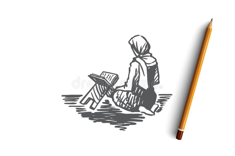 Muslim, islam, religion, arab, girl, koran, prayer concept. Hand drawn isolated vector. stock illustration