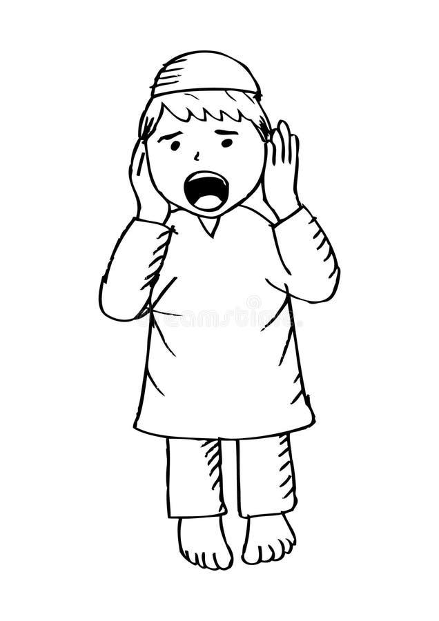 Muslim kid adzan stock illustration