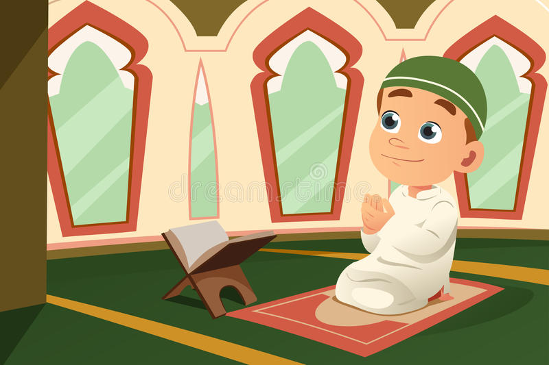 Muslim Kid Praying in Mosque. A vector illustration of Muslim Kid Praying in Mosque royalty free illustration