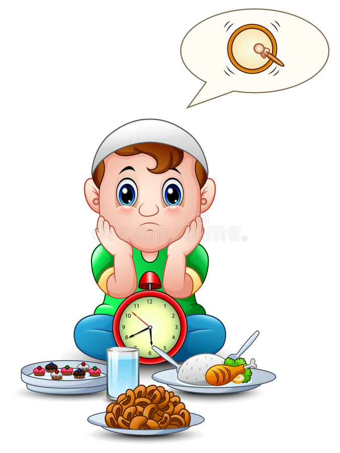 Muslim kid sit on the floor while wait break fasting with some food in front of him. Illustration of Muslim kid sit on the floor while wait break fasting with royalty free illustration