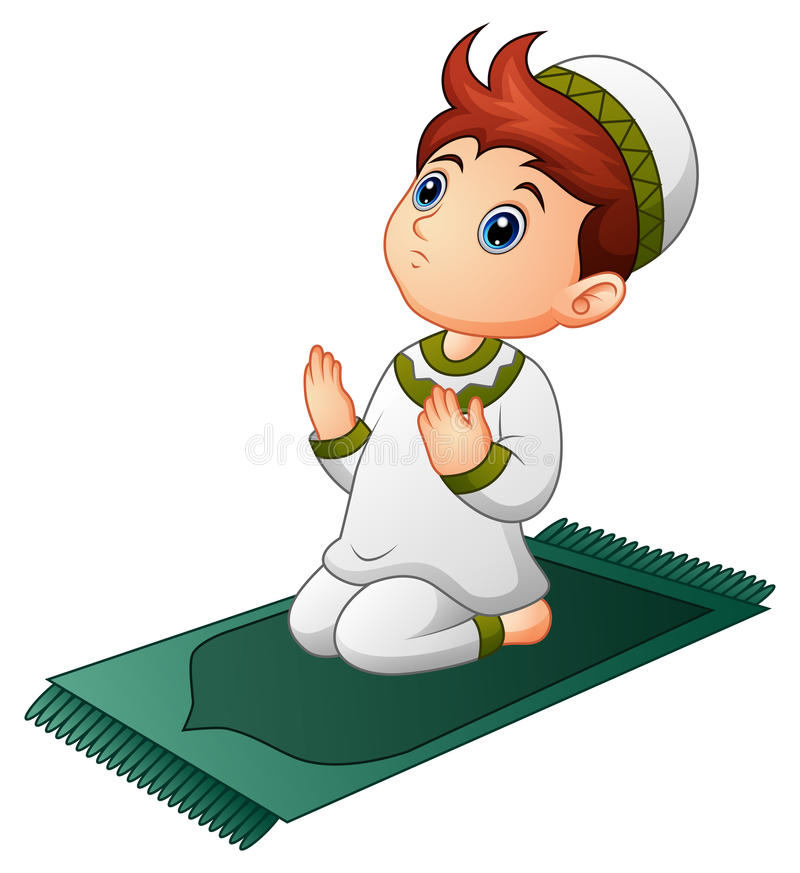 Muslim Kid Sitting On The Prayer Rug While Praying Stock