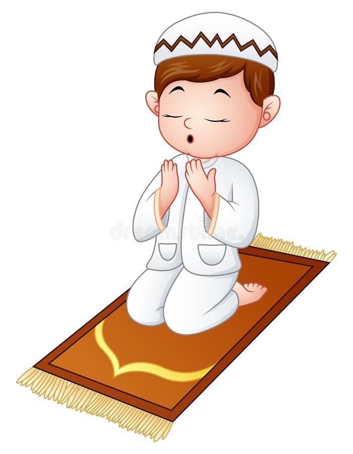 Muslim kid sitting on the prayer rug while praying royalty free illustration
