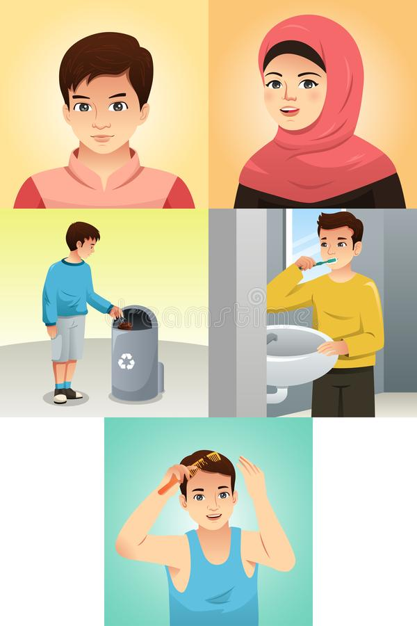 Muslim Kids Doing Activities Illustration vector illustration