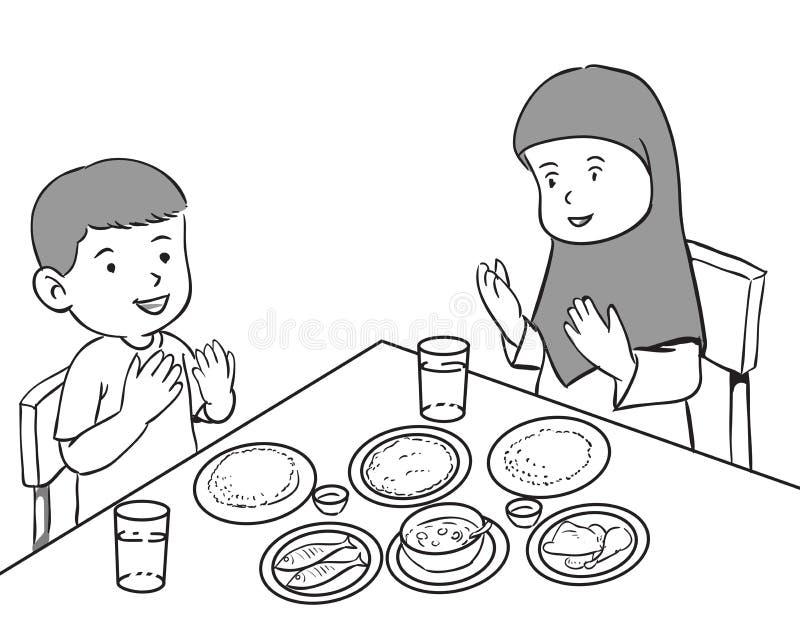 Muslim Kids having meal stock illustration