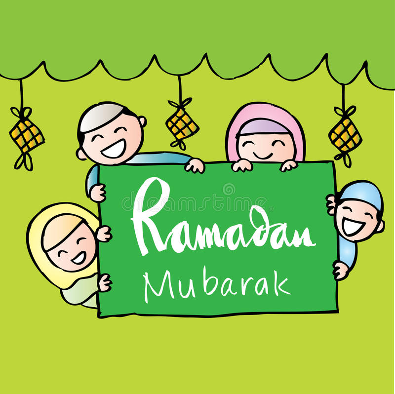 Muslim kids holding banner stock illustration
