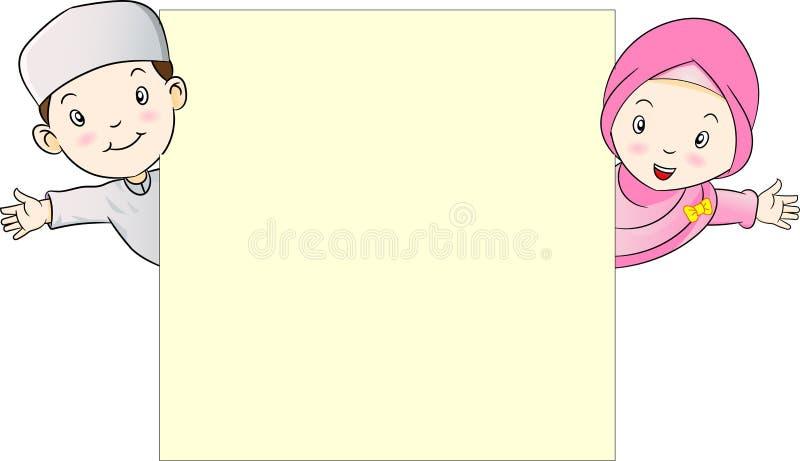Muslim Kids holding empty blank board-vector illustration vector illustration