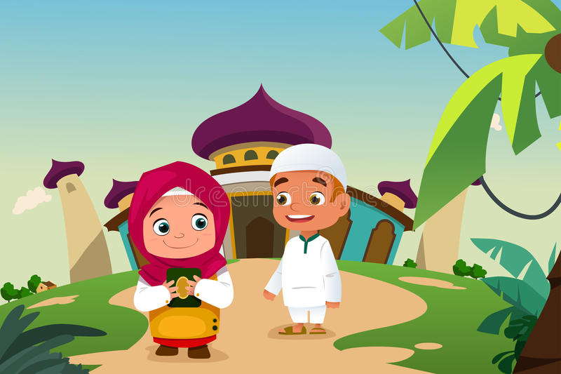 Muslim Kids Leaving a Mosque stock illustration