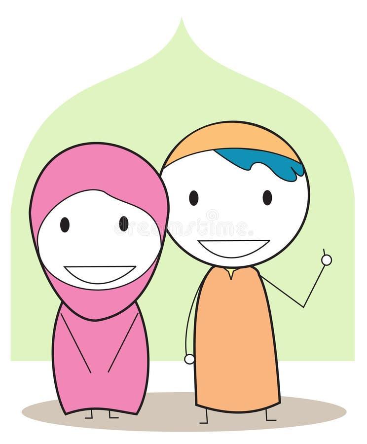 Muslim kids vector illustration