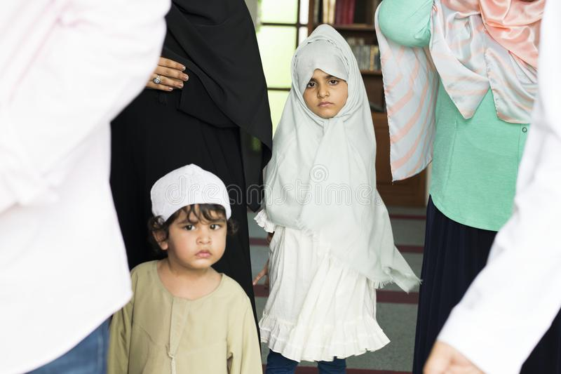 Muslim kids at the mosque royalty free stock photo