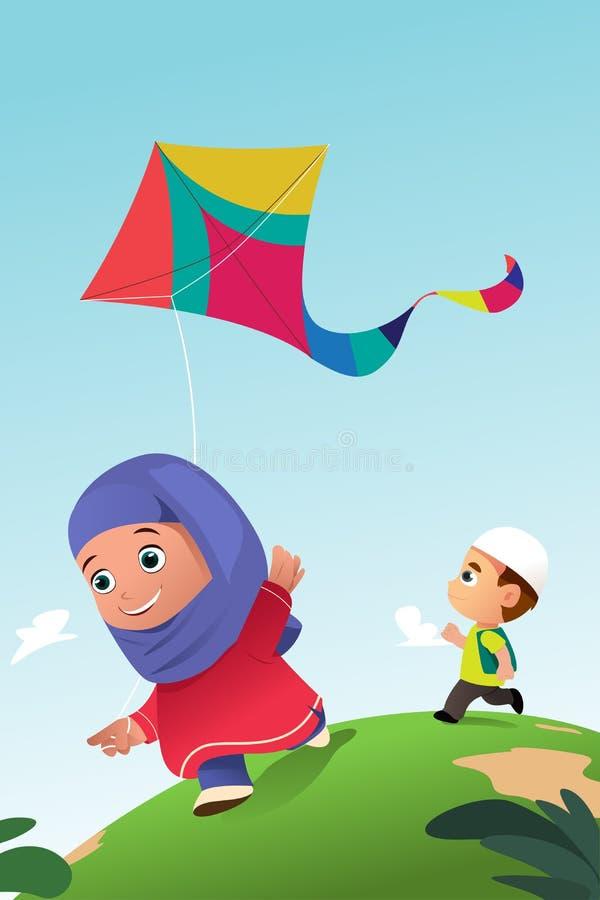 Muslim Kids Playing Kite Outdoor royalty free illustration